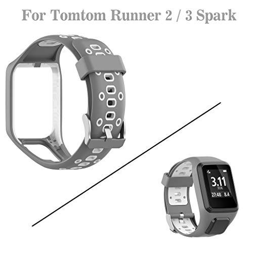 Feinny Lederband Ersatzband/Ersatzarmband für stilvolle Sportuhren aus Silikon/für Tomtom Runner 2/3 Spark / 3 /Grau