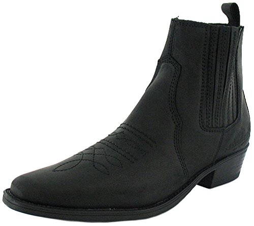 Wrangler - Herren Leder Cowboy Stiefel Zum Hineinschlüpfen - Schwarz Gr. EU 41-46 - Schwarz, EU 43, Synthetik (Schwarze Leder-cowboy-stiefel)