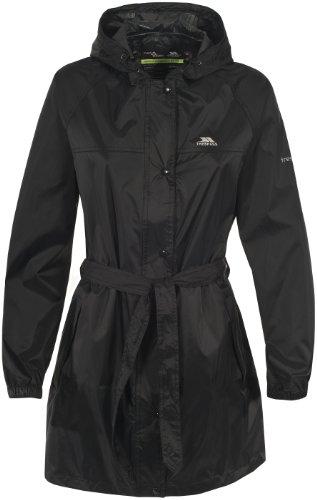Trespass Compac Mac, Black, L, Wasserdichte Kompakt Zusammenfaltbare Jacke für Damen, Large, Schwarz