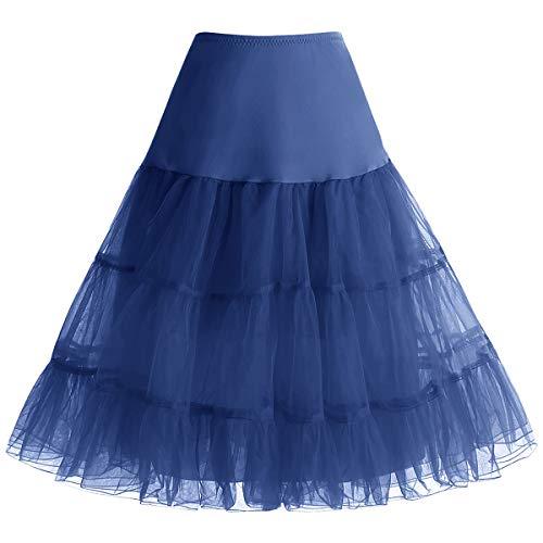 bbonlinedress Organza 50s Vintage Rockabilly Petticoat Underskirt Navy L