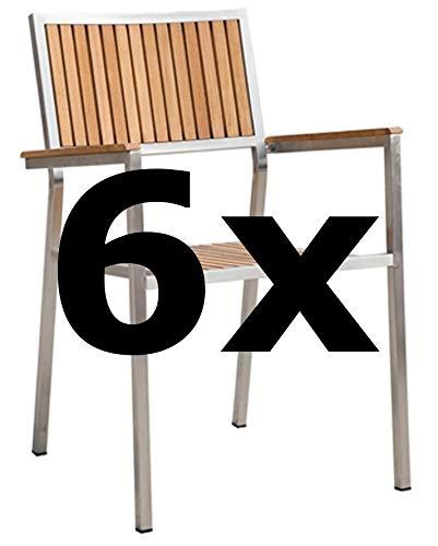 6Stk Designer Gartenstuhl mit Armlehne Gartensessel Stapelstuhl Stapelsessel Sessel Kuba-Teak Edelstahl Teak A-Grade stapelbar Sehr robust von AS-S - Edelstahl-stapelstühle