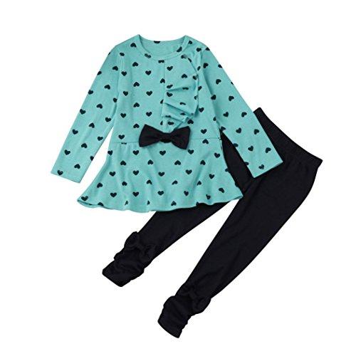 ädchen Langarm-Blumen-Bogen-Hemd + Plaid Pant Set Kleidung (100(2-3Y), Blau) (Cute Panda-outfit)