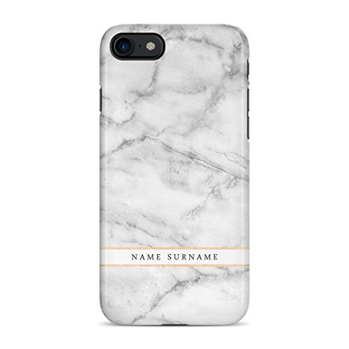 Personalised Customizable First and Last Name Initiale Text Custom Weiß Marmor Schutzhülle aus Hartplastik Handy Hülle für iPhone 7/iPhone 8 Case Hard Cover Hard Case Handy Cover