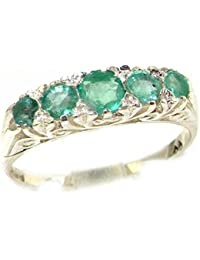 2c287d9a3aeba2 Luxury Solid 9ct White Gold Natural Emerald Victorian Style Eternity Ring