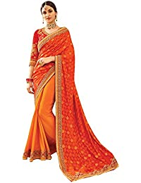 Shaily Orange Royal Silk & Jacquard Embellished Saree