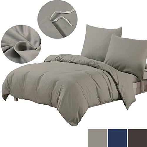 Bettwäsche 200 x 220 cm, Bettbezug Uni Grau Mikrofaser mit Reißverschluss, 3 tlg. Weiche und Knitterfreie Bettwäsche Set, Kissenbezüge ohne Reißverschluss, 200 x 220 cm, 2 x 80 x 80 cm , grau