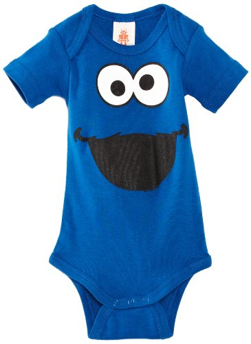Monster Street Sesame Kostüm Cookie - Logoshirt Baby - Jungen body Sesame Street Cookie Monster Faces, Gr. 92 (Herstellergröße:86/92), Blau (Azure Blue)