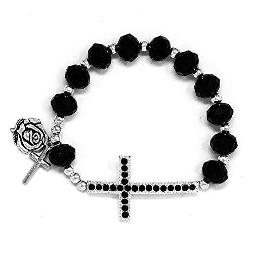 Catholic-Gift-Shop-Ltd-Black-Decade-Rosary-Bracelet-with-a-Strass-Crystals-Cross-and-Lourdes-Medal-Lourdes-Prayer-Card