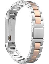 MoKo Fitbit Alta Correa - Reemplazo SmartWatch Band de Reloj Acero Inoxidable con Doble Botones Plegable Accesorios para Fitbit Alta Smart Fitness Tracker ( NO INCLUYE MARCO ), Plata / Oro Rosa