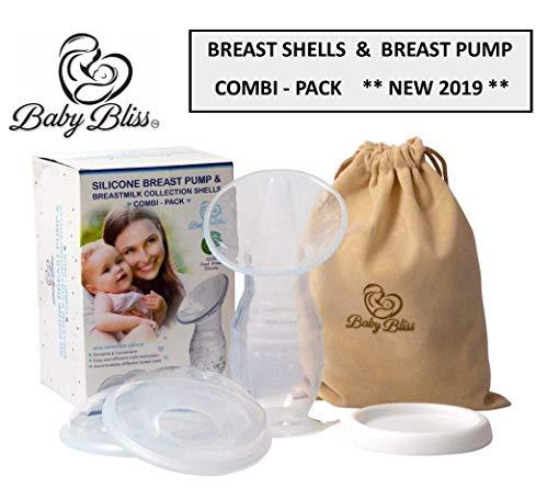 Tiralatte in silicone allattamento manuale con salva-latte CONFEZIONE DOPPIA con conchiglie raccogli latte | senza BPA & 100% Silicone alimentare
