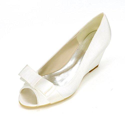Ei&iLI Scarpe da sposa in seta Women 's Open Toe farfalla Accenti cuneo scarpe partito dei vestiti da damigelle EU36-EU43 Champagne