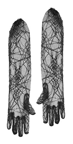 SPIDERWEB GLOVES HALLOWEEN BLACK LACE FANCY DRESS WITCH SPIDER COSTUME