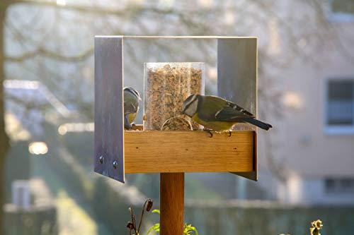 Luxus-Vogelhaus 46861e Eichenholz Vogelfutterhaus mit Ständer - 4
