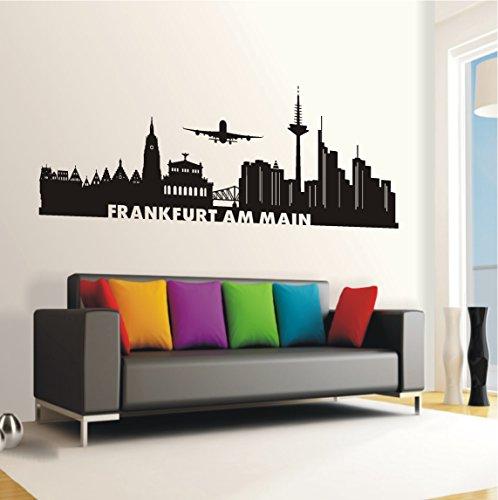 Preisvergleich Produktbild HomeTattoo ® WANDTATTOO Wandaufkleber Skyline Frankfurt am Main Stadt Wohnzimmer City 592 XL ( L x B ) ca. 58 x 165 (schwarz 070)