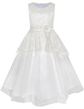 Sunny Fashion Vestido para niña Flor Encaje Dobladillo Boda primero Comunión 6-14 años
