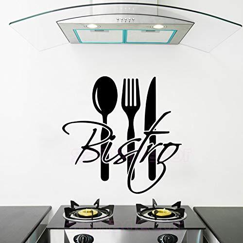 Njuxcnhg Aufkleber Französisch Küche Bistro Vinyl Wandaufkleber Aufkleber Wandbild Wandkunst Tapete für Küchenfliesen Wohnkultur Haus Deco 55X55 cm -