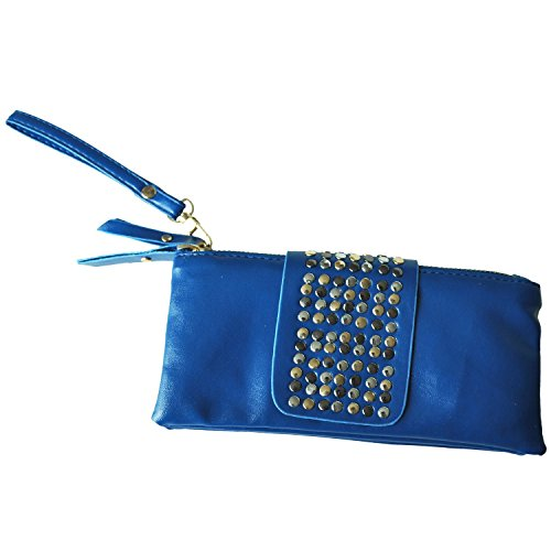 SODIAL(R) Vendita calda donne dellunita di elaborazione del sacchetto di modo del cuoio del ribattino delle donne di modo borsa portafoglio frizioni-albicocca Blu