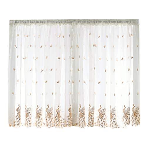 Gankmachine Kurz Fenster Gardinen Valance Wohnzimmer Feder gesticktes Voile Rod-Taschen gardine für Esszimmer -