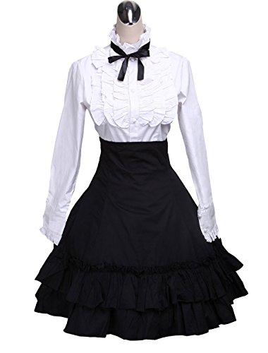 wolle Falten Knielang Elegant Lolita Rock und viktorianisch Fliege Bluse,L (Aschenputtel Arbeit Kleid)