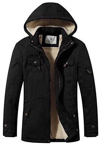 Wenven giacca a vento parka cotone uomo pesante con cappuccio nero medium