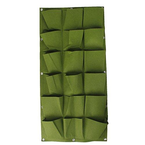 18 Bolsillos Bolsa Vertical Colgante Decoración Hogar Jardín de Hierbas Planta Pared Interior / Exterior Verde