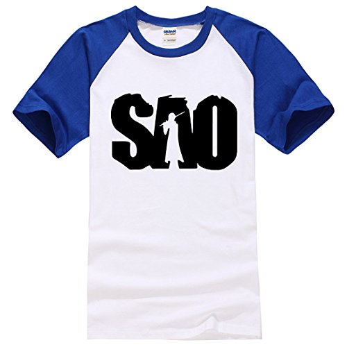Men's SAO Letters Printed Cotton Short Sleeve Tee Shirt blue white