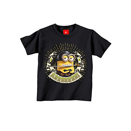 (King of Merch - Kinder T-Shirt - Minions Pirat Kevin Phil Agnes Einhorn Unicorn Pirate Scarlet Overkill Herb Bob Stuart Gru Flux Margo Edith Vector Einauge Banana Minion Schwarz 164)