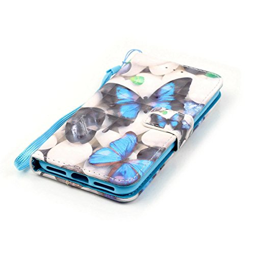 "Flip PU Leder Hülle Wallet Case für iPhone 6 Plus 6S Plus (5.5"") HB-Int 3 in 1 Farbmalerei Ledertasche Brieftasche Lederhülle Standfunktion Book Style Shell Foto Kartenfächer Handytasche Magnetverschl Blau Schmetterling"