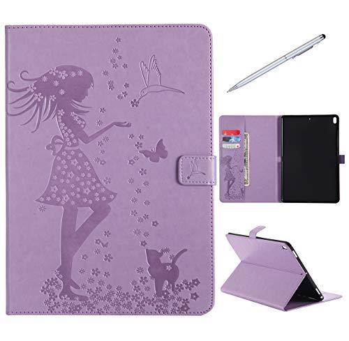 iPad Pro 10.5 Hülle, SHUYIT Prägung Muster PU Leder Tasche Flip Ständer Case Cover Handyhülle Schutzhülle für Apple iPad Pro 10.5 Etui Lederhülle mit Auto Einschlafen/Aufwachen + 1*Stylus (Keyboard-ständer Und Legen Sie)