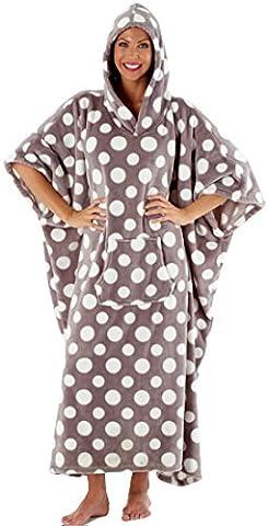Femmes Inspirations À Capuche De Luxe Pois Lounge Poncho - gris-blanc Pois, Taille Unique