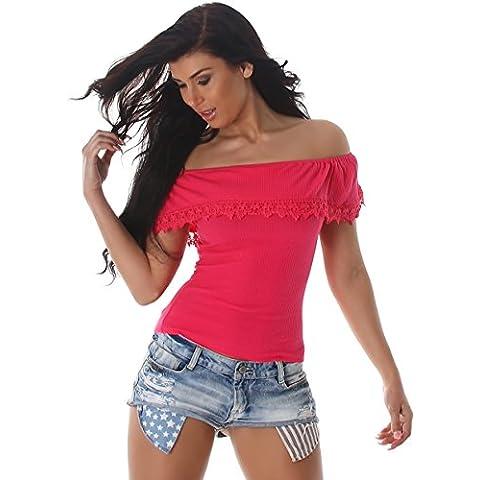 Voyelles signore camicia camicetta superiore off-the-top costola Carmen shirt Uni Rippshirt