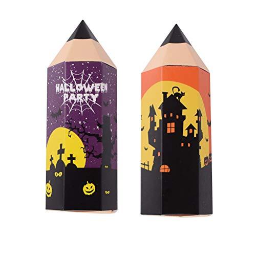 BESPORTBLE 12 stücke 11,5x5 cm Halloween pralinenschachtel kreative bleistiftförmigen Fall Cookie aufbewahrungsbox für Halloween Party (lila + orange)
