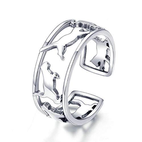 Anello da donna, anello semplice cometa sveglia, oro bianco placcato argento sterling s925, gioielli con anello aperto e regolabile
