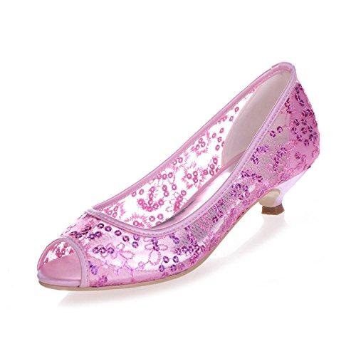 L@YC 0700-13 Tacco a Spillo Da Donna Con Tacco a Spillo Per Uomo, Scarpe Da Cerimonia Nuziale, Scarpe In Pizzo Pink
