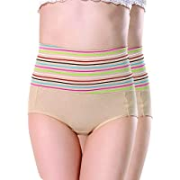 Ritu Creation Women's Cotton Spandex High Waist Panty/Tummy Control Panty,Free Size(Pack of 2)