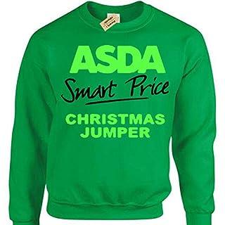 Asda Smart Price Jumper Mens funny xmas joke sweatshirt gift christmas present(Large Military Green)