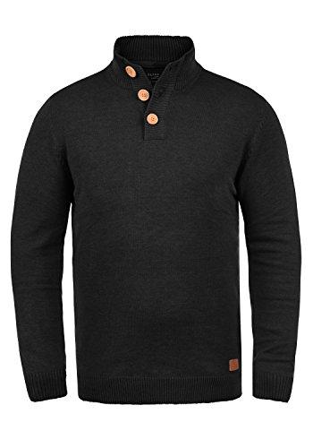 Blend Lenny Herren Strickpullover Troyer Feinstrick Pullover Mit Stehkragen Und Knopfleiste, Größe:XXL, Farbe:Black (70155)
