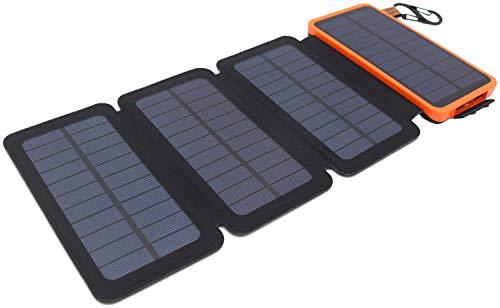 Powerbank solare, itscool caricabatterie solare 12000mah 9 led luci 4 pannelli 2 usb impermeabili per cellulari e tutti i dispositivi da 5v