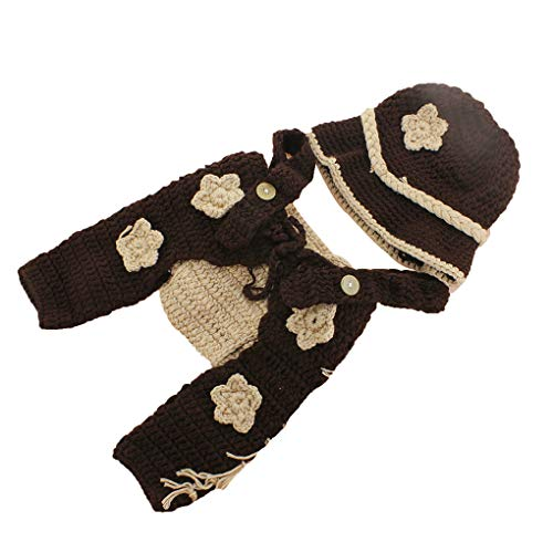 tografie Outfit gestricktes Garn Cartoon Cowboy Splicing Farbe Infant Weiche, die Foto Prop ()