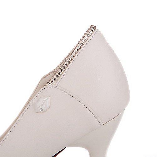 AllhqFashion Femme Stylet Pointu Couleur Unie Tire Chaussures Légeres Abricot
