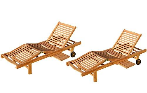 ASS 2X Echt Teak Sonnenliege Gartenliege Strandliege Holzliege Holz vielfach Verstellbar mit...