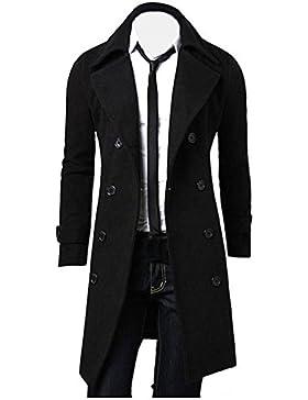 Ropa de abrigo para hombre, RETUROM Invierno hombres Slim Trench doble pecho chaqueta larga capa