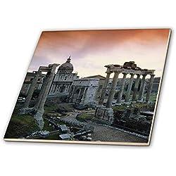 3drose CT _ 206638_ 3Italien, Rom, Piazza del Campidoglio FORUM ROMANUM AT DAWN Keramik Fliesen, 20,3cm