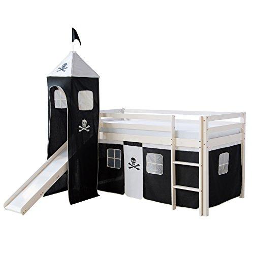 Homestyle4u 1550_074 Pirat Finn III. Hochbett Spielbett Kinderbett Weiss aus Kiefer mit Leiter Turm Rutsche und Vorhang in Schwarz Weiß B x H 90 x 200 cm Jugendbett (Kinder Hochbett Rutsche)
