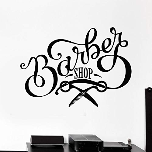 yaoxingfu Friseur Design Vinyl Wandtattoo Friseursalon Schere Schild Schönheit Friseursalon Aufkleber Wandbild Tapete Fenster Dekor58x42cm