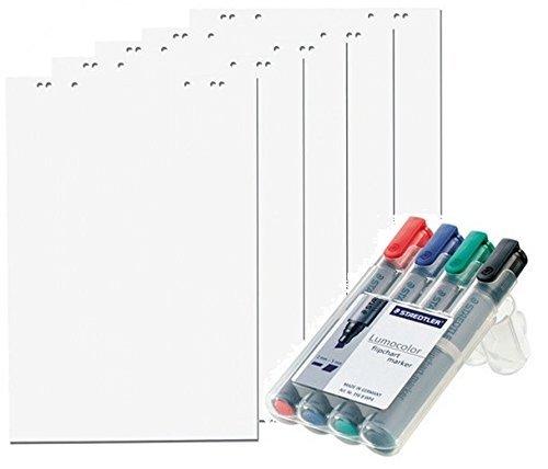 5x Flipchartblöcke + 4er Marker Set, Weiss Blanco, je Block 20 Blatt 69x99 cm, 6 fach Lochung, perforiert, Papier für Flipchart