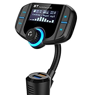 Bluetooth-FM-Transmitter-GRDE-KFZ-Wireless-Radio-Adapter-Dual-USB-Schnellladung-30-Ladegert-MP3-Player-freisprecheinrichtung-mit-35mm-Aux-Eingang-17-Zoll-Display-TF-Karte-A2DP-Funktion