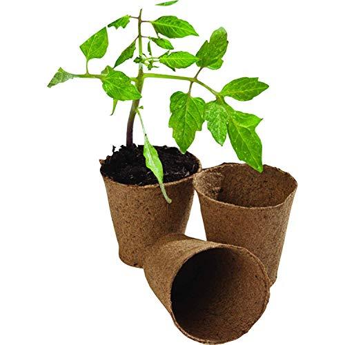 WARKHOME Lot de 48 8 cm Ronds Pots Biodégradables de Tourbe Plantation en Fibre Pots de Rempotage Graines Jardin Fleur boutures