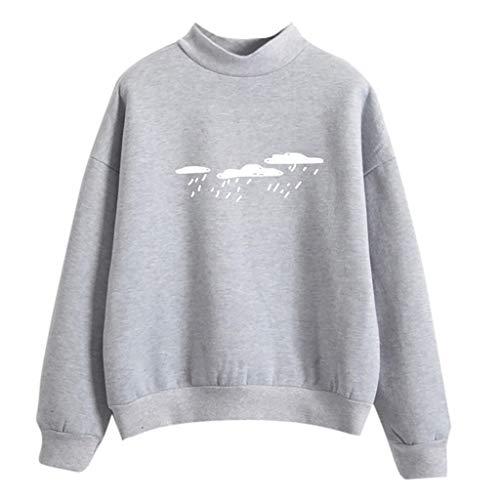 Damen Mode lange Ärmel Liebe Finger gedruckt Sweatshirt Bluse übersteigt ()