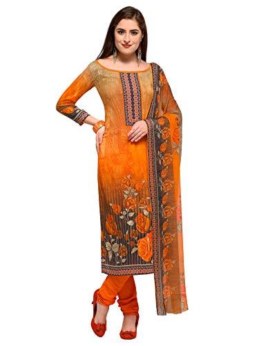 Varayu Women\'s Orange color Crepe Printed Unstitched Dress Material